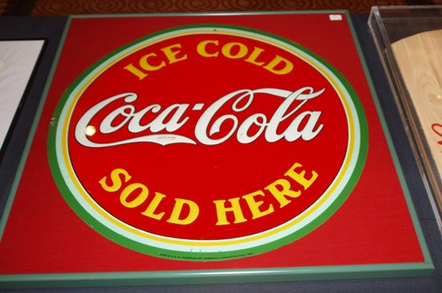 1934 20'' ROUND TIN ICE COLD SIGN-FRAMED ($425)